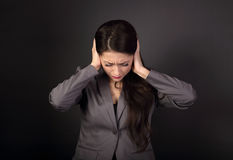 Free Stressed Unhappy Business Woman In Grey Suit Closed Ears The Han Stock Image - 89837871