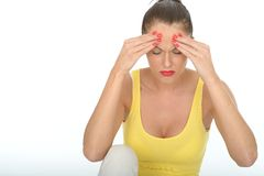 Stressed Unhappy Fed Up Attractive Young Woman with Painful Headache Royalty Free Stock Photos