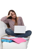 Stressed university student Royalty Free Stock Photo