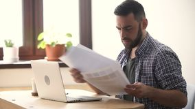 Stressed unmotivated man quits fed up with bad difficult job stock footage