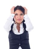 Stressed woman. Portrait of stressed woman having head pain Royalty Free Stock Images