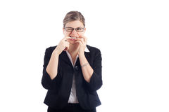 Stressed woman biting nails Royalty Free Stock Image
