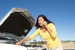 Stressed woman car breakdown Royalty Free Stock Photos
