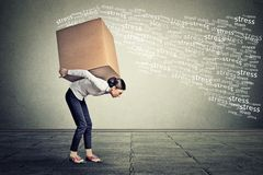 Stressed woman carrying on her back large box Royalty Free Stock Images
