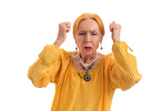 Stressed woman with closed eyes. Stock Photo