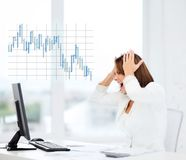 Stressed woman with computer Royalty Free Stock Image