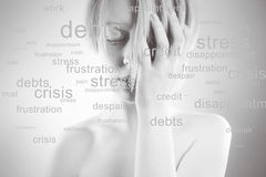 Stressed woman. Conceptual image,  portrait of  girl, many problems around, words about the head Stock Photo