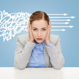 Stressed woman covering her ears with hands Stock Photos