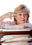Stressed woman desperate Stock Photo