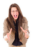 Stressed woman with glasses shouting in frustration Stock Images