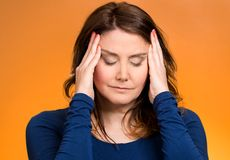 Stressed woman having so many thoughts Stock Image