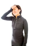 Stressed woman holding her head with hand Stock Photo