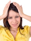 Stressed woman, isolated Royalty Free Stock Photography