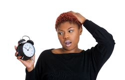 Stressed woman by lack of time Stock Image