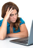 Stressed woman looking at her computer Royalty Free Stock Images