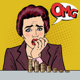 Stressed Woman Looking at her Last Savings. Pop Art. Vector illustration Stock Photos
