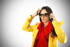 Stressed woman with mobile Royalty Free Stock Photography
