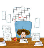 Stressed Woman Office Worker With Piles of Paperwork Royalty Free Stock Photography