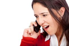 Stressed woman on the phone Royalty Free Stock Photography
