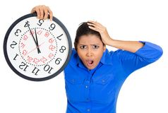 Stressed woman in rush stock images