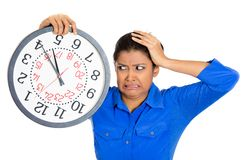 Stressed woman in rush Stock Photo