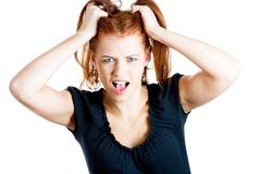Stressed woman screaming Royalty Free Stock Photo