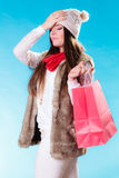Stressed woman with shopping bag Stock Images