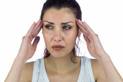 Stressed woman suffering from headache Royalty Free Stock Images