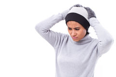 Stressed woman suffering from headache Stock Image