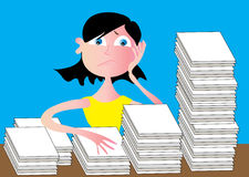 Stressed Woman. A vector illustration of a stressed woman with a mountain of paperwork Stock Photography