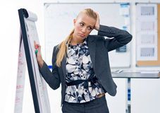 Stressed woman writing on panel Stock Photography