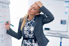 Stressed woman writing on panel Stock Images