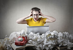Stressed worker Stock Photo