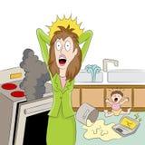 Stressed Working Mom stock illustration