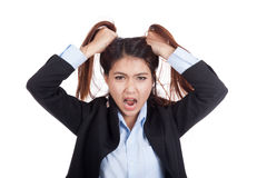 Stressed young Asian businesswoman is going crazy pulling her ha Royalty Free Stock Images