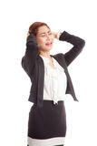 Stressed young Asian businesswoman scream out Royalty Free Stock Photos