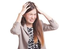 Stressed young Asian businesswoman scream out. Royalty Free Stock Photography