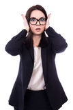 Stressed young business woman covering her ears isolated on whit Stock Images
