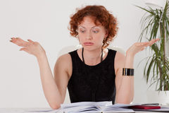 Stressed young businesswoman Royalty Free Stock Photo