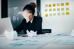 Stressed young businesswoman. royalty free stock image