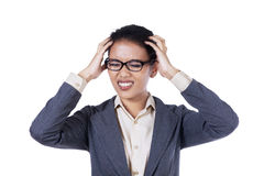 Stressed young businesswoman Stock Photos