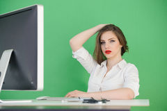 Stressed young businesswoman Royalty Free Stock Image