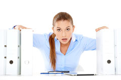 Stressed young businesswoman Royalty Free Stock Photos