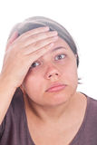 Stressed young girl closeup Royalty Free Stock Photography