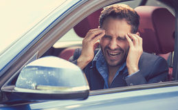 Stressed young man driver sitting inside his car royalty free stock photos