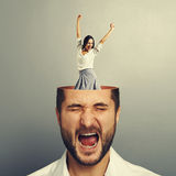 Stressed young man and excited woman Royalty Free Stock Image