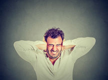 Stressed young man upset frustrated Stock Photography