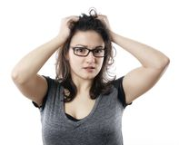 Stressed young woman Royalty Free Stock Image