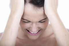 Stressed Young Woman with Headache Migraine Royalty Free Stock Photos