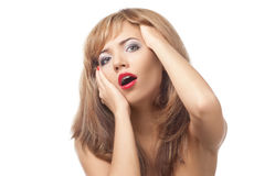 Stressed young woman with open mouth Stock Images
